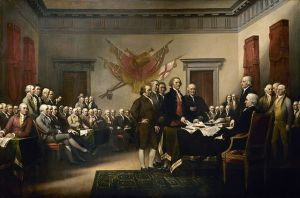 Signing of the Declaration of Independence, by John Trumbull. (Wikimedia Commons)